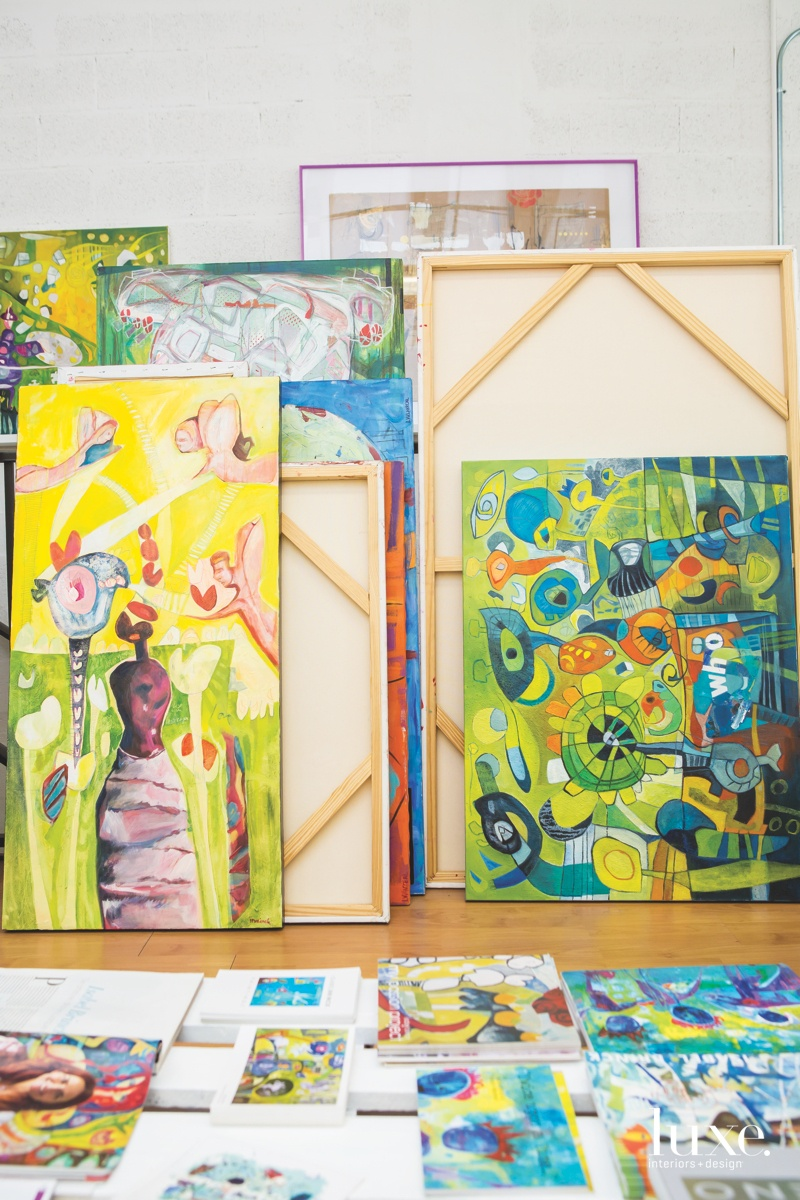 After drawing the illustrations on large canvases--sometimes as tall as 8 feet high--and adding color, they truly come to life.