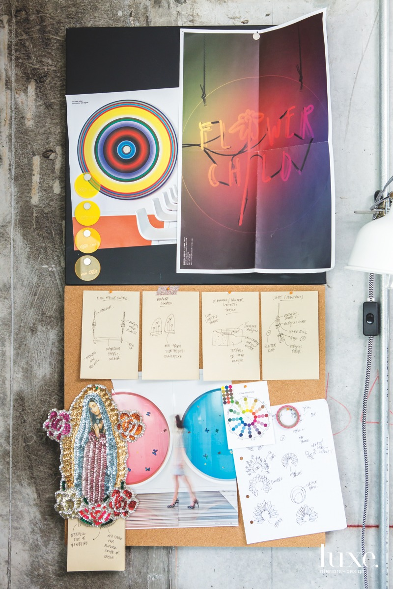 "A memo board containing inspirational clippings, notes and sketches hangs on a wall in artist Gabriela Noelle's Miami studio. The Flower Child image is a picture of a neon sign the artist created a few years ago as a reminder to stay ""playful, pure, imaginative and curious,"" she says"