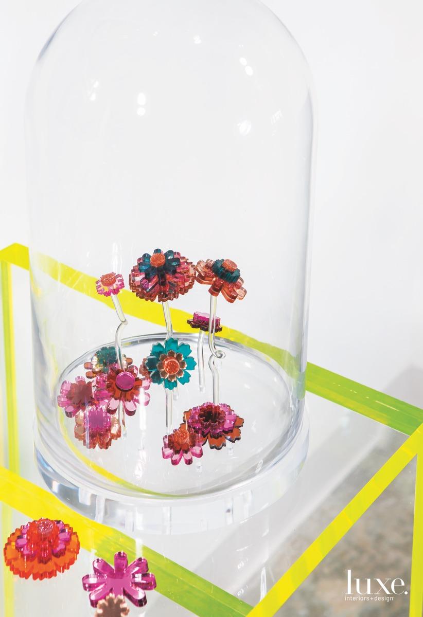 The artist's laser-cut flowers.