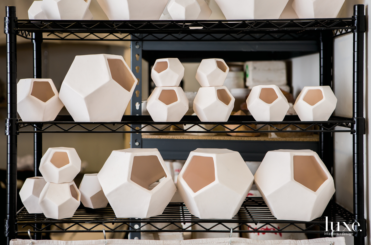 Slip-cast dodecahedrons in the studio of Miami-based ceramicist Lauren Shapiro.