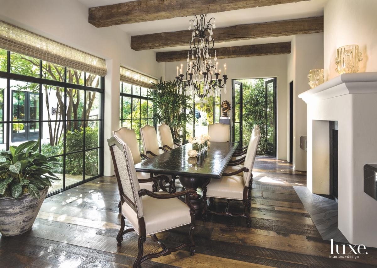 mediterranean dining room windows brown...