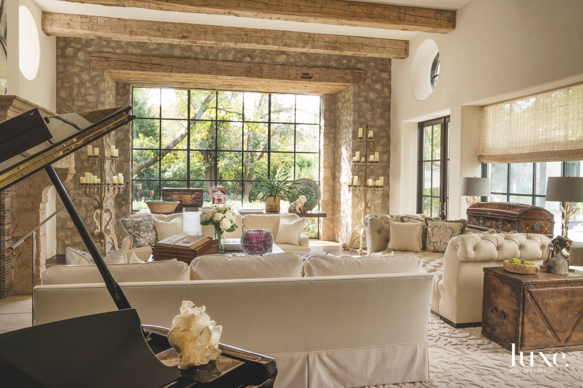 mediterranean living room neutral white...