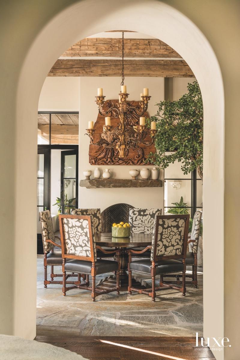 mediterranean dining room walnut table...