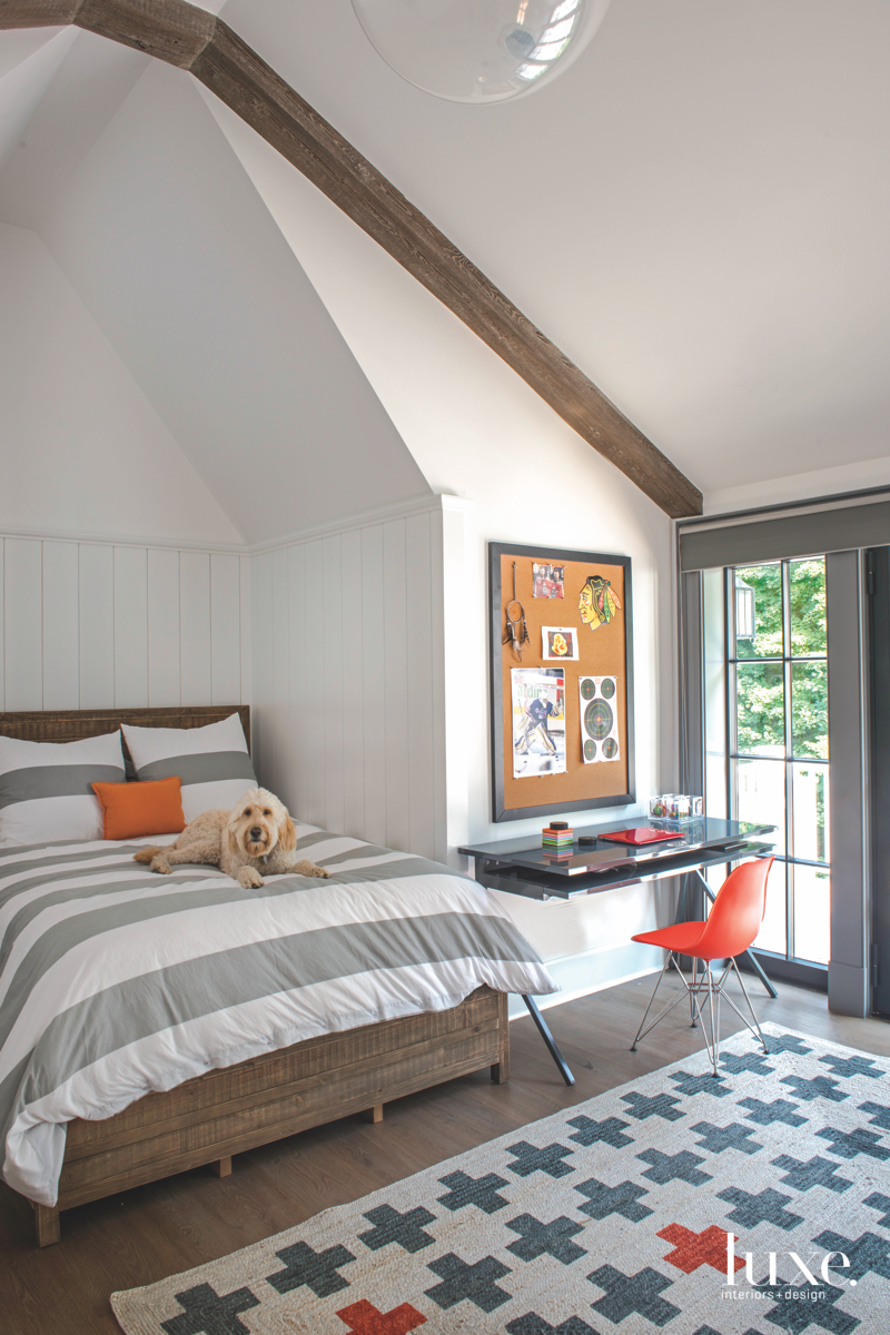 transitional white bedroom orange &...