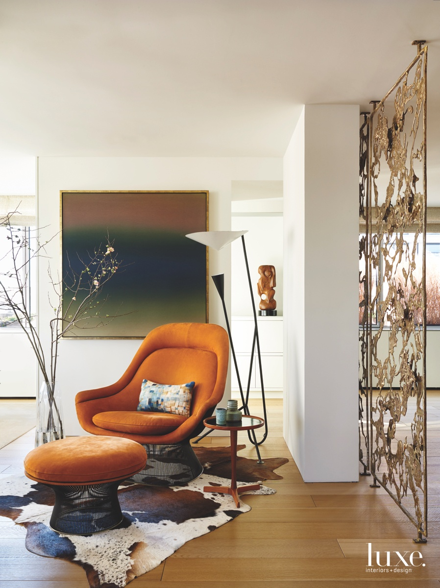 modern living room orange chair