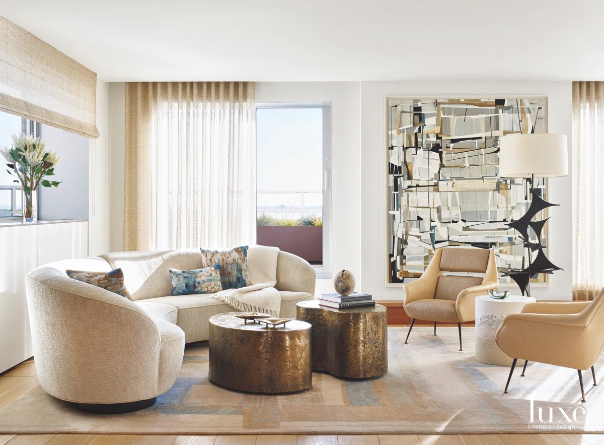 modern living room vintage armchairs