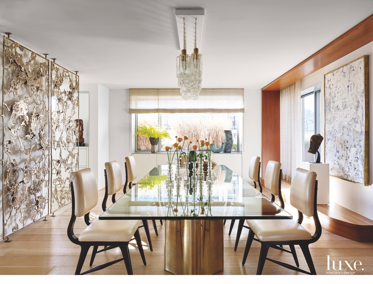 modern dining room cast-bronze screen