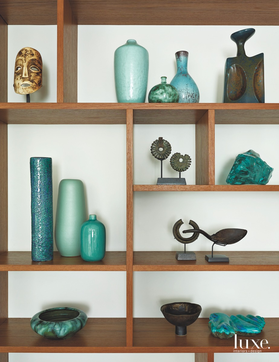 modern sculptures bedroom shelving