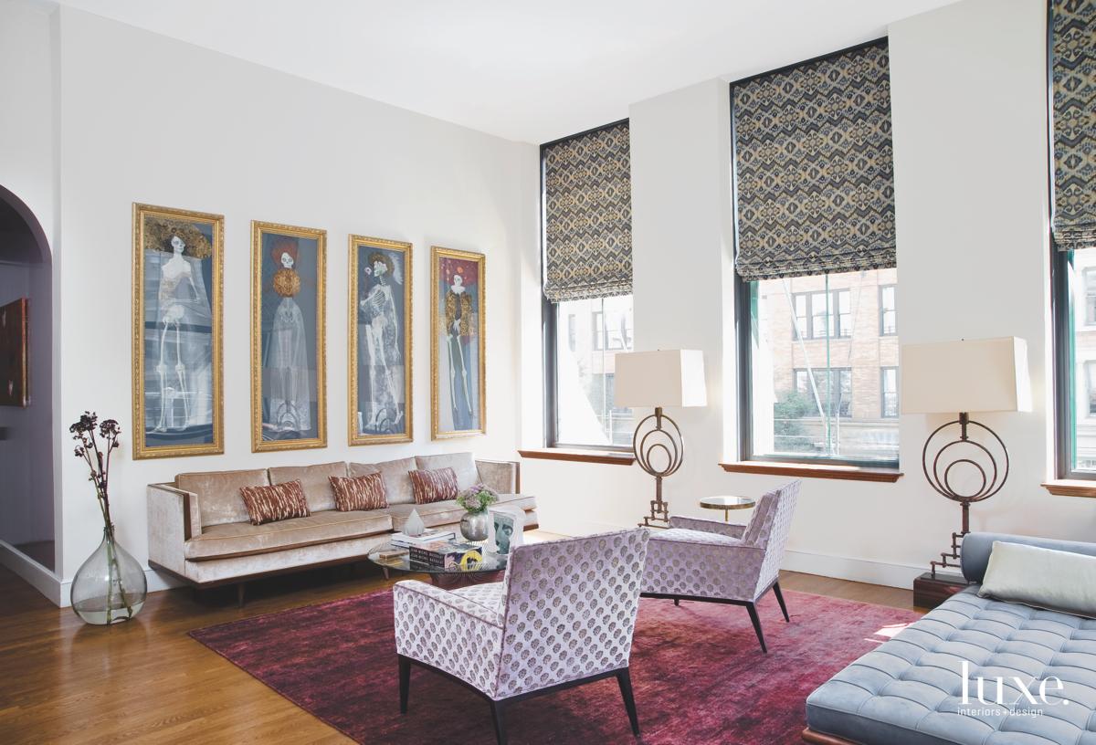 modern living room pink rug