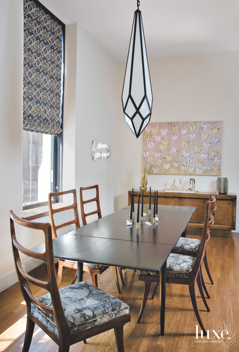 modern dining room butterfly painting