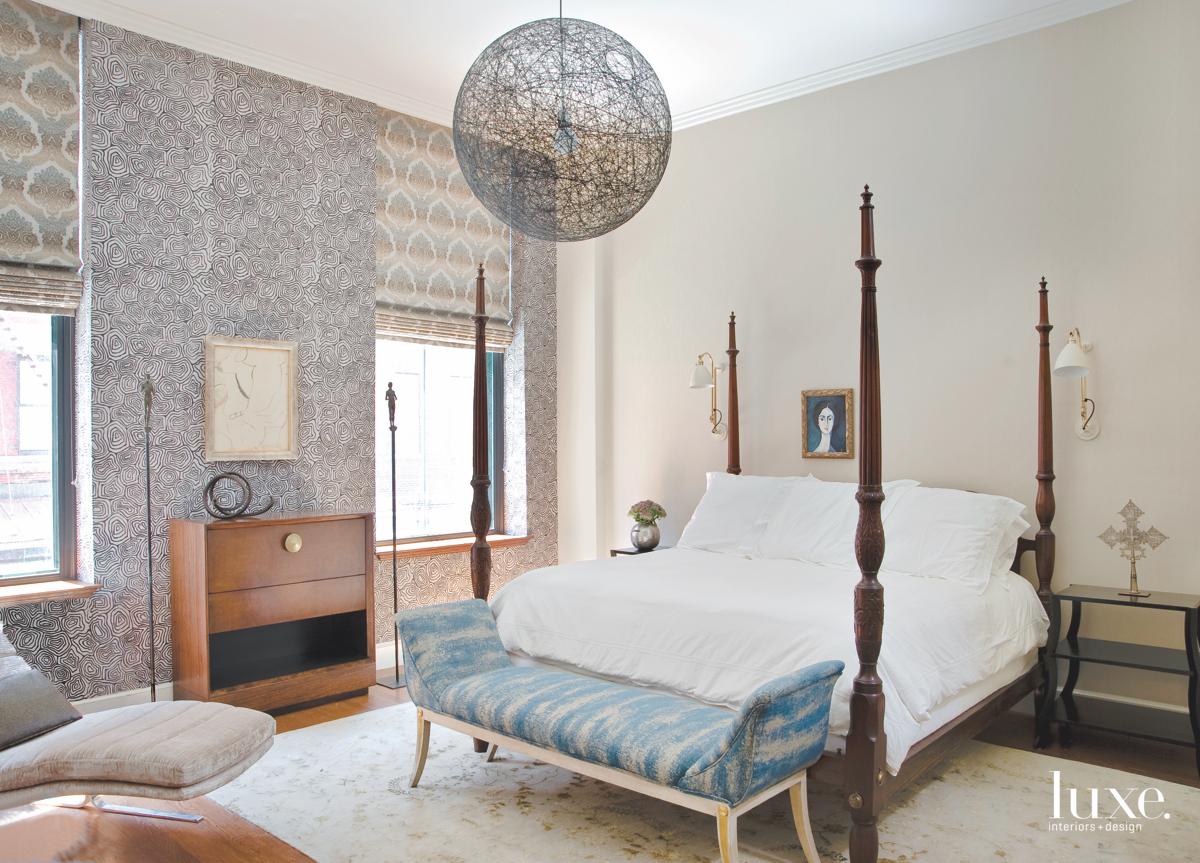 modern bedroom white bed gray...