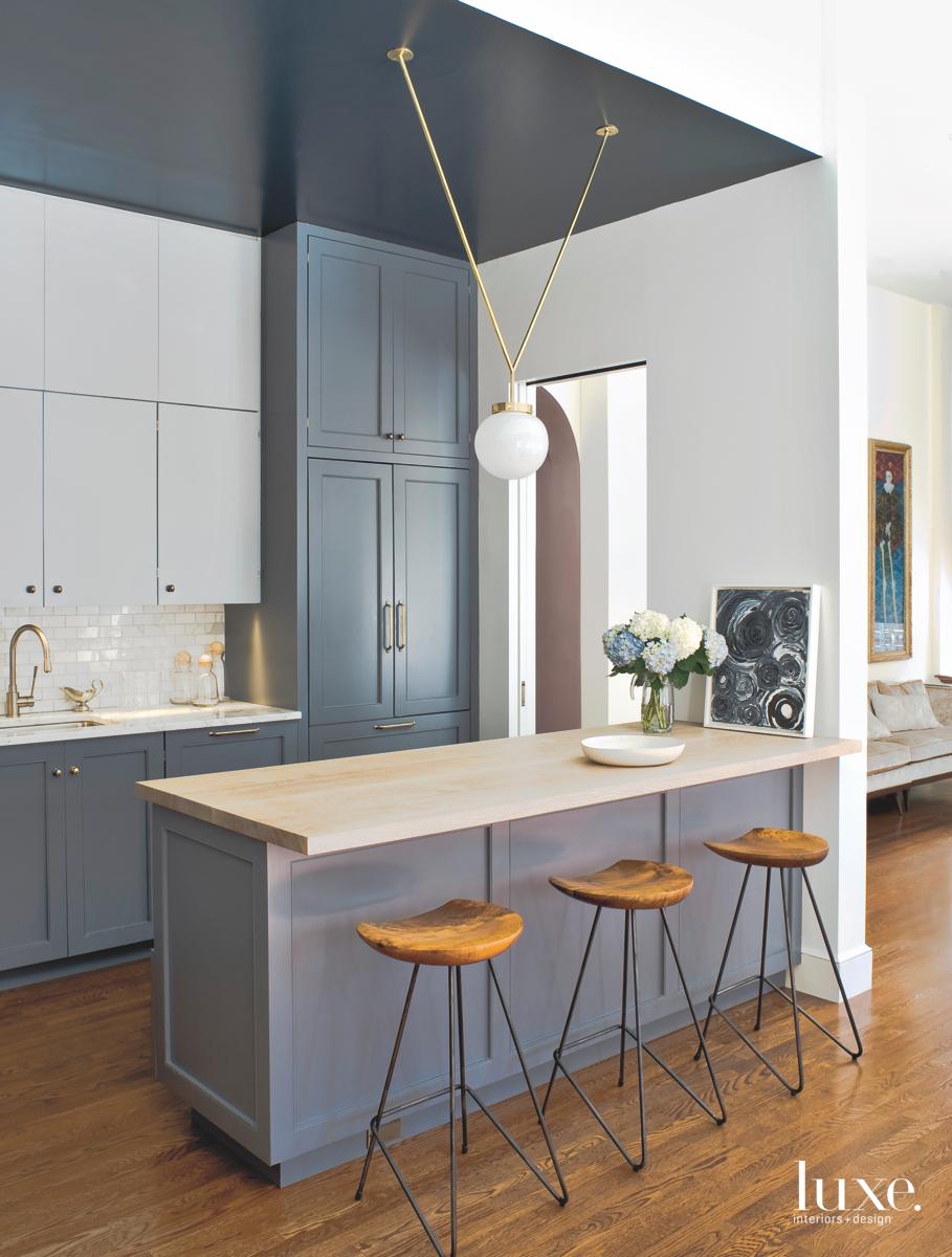 modern gray kitchen hanging light...
