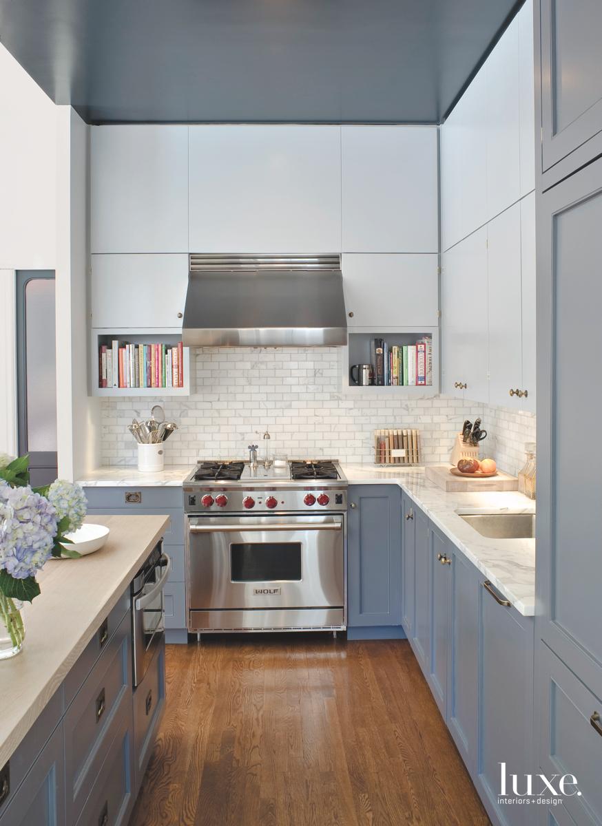 modern gray kitchen subway tiles