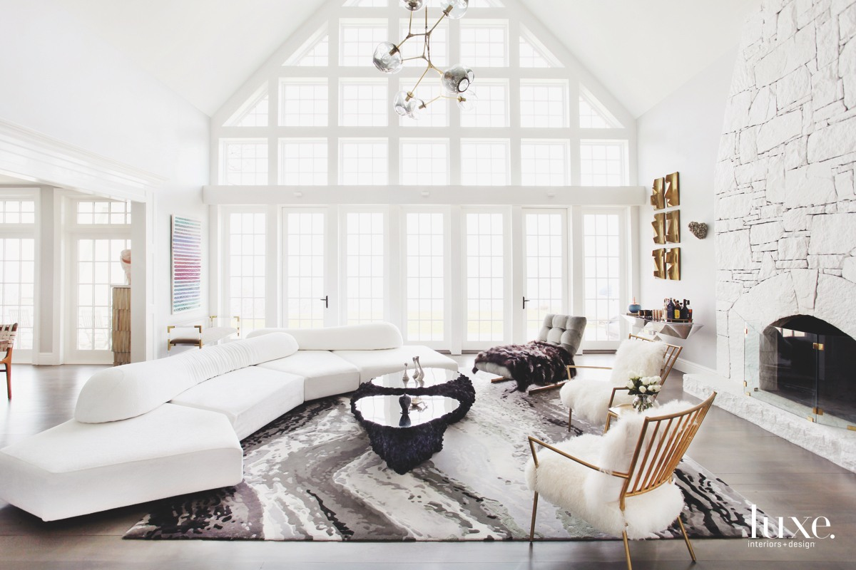 modern great room white sectional...