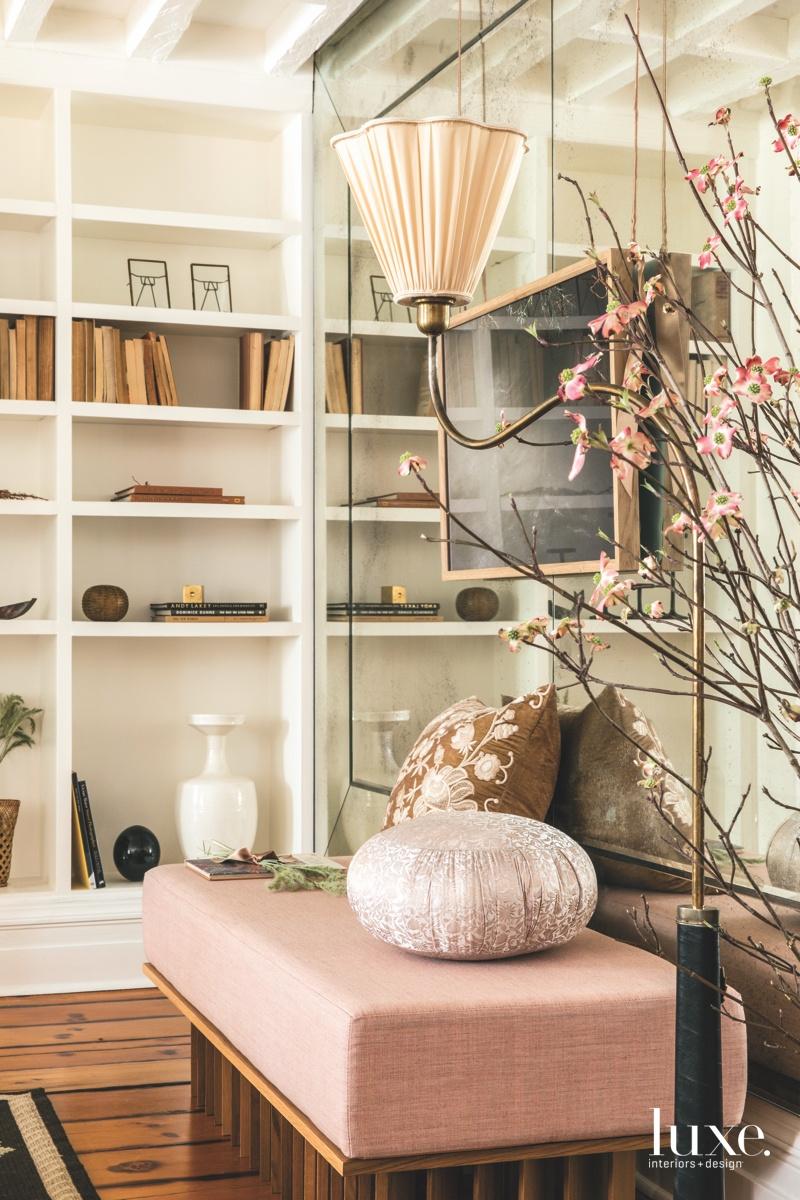 contemporary living room pink tones...