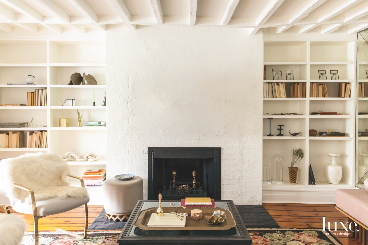 contemporary living room white with...