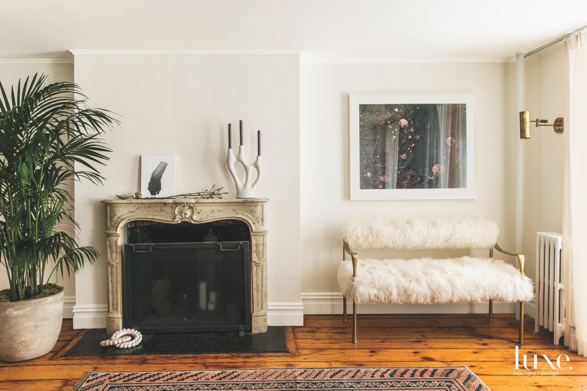 contemporary living room fireplace white...