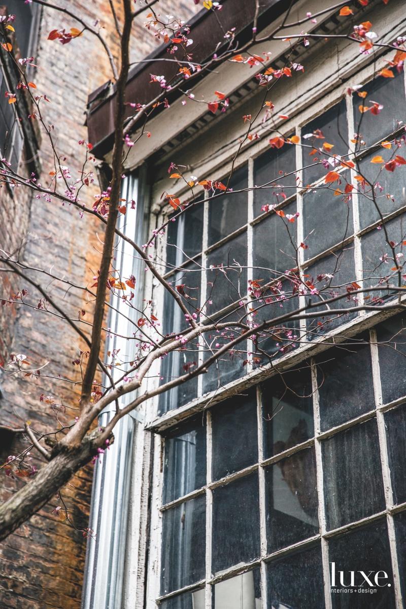 contemporary exterior window of master...