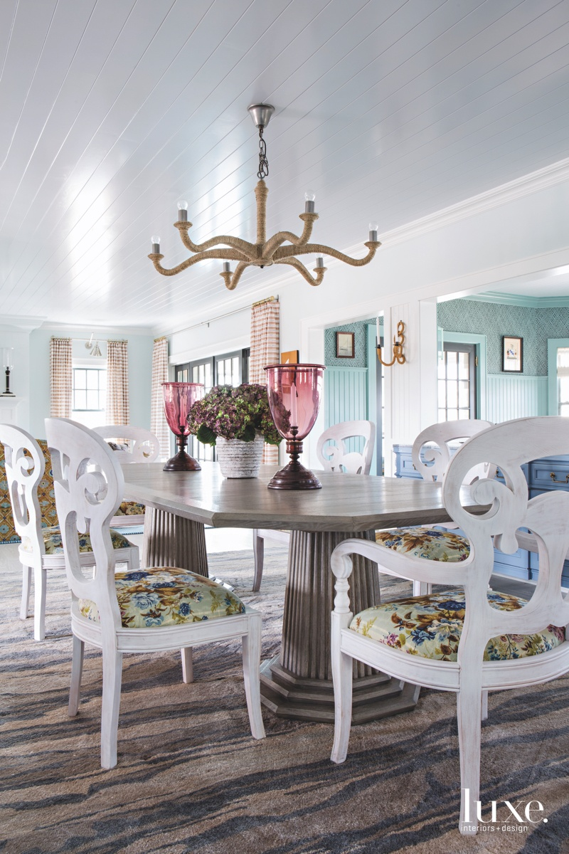 traditional dining room multi-colored sea...