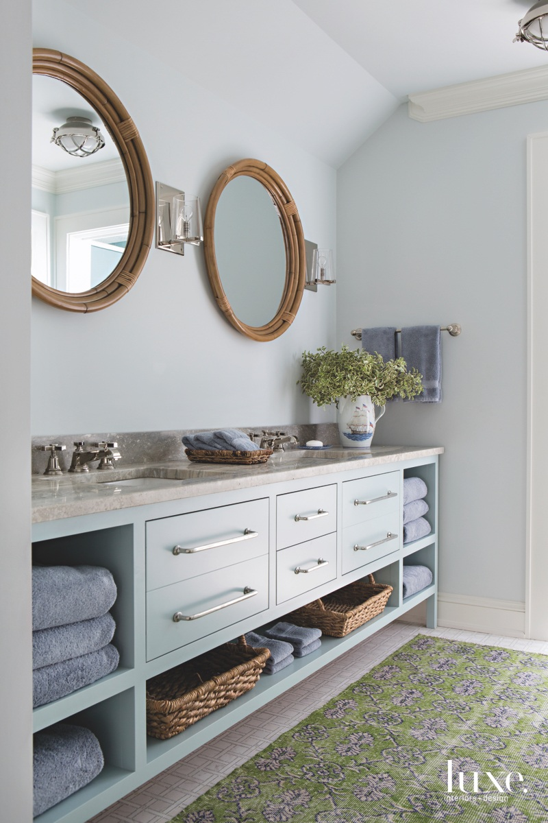 traditional bathroom blue accents mirrors...