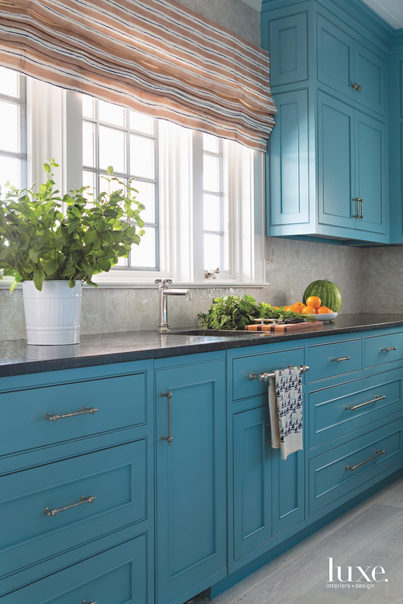 traditional kitchen blue cabinetry