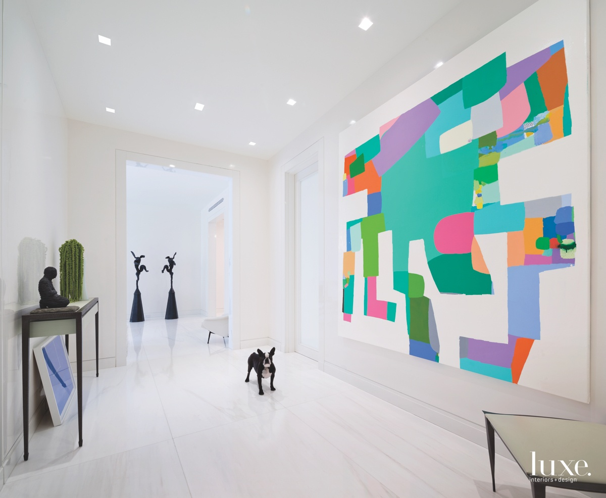 contemporary white hallway multi-color art...