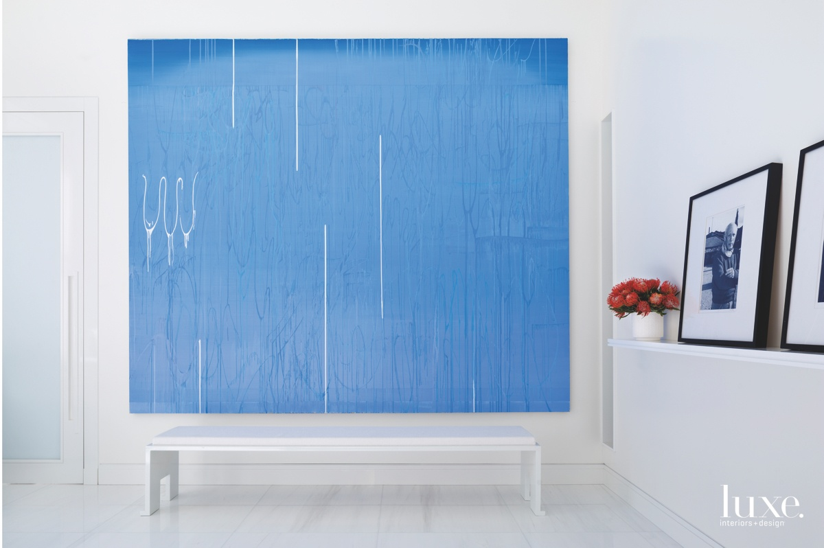 contemporary bedroom blue oil artwork...