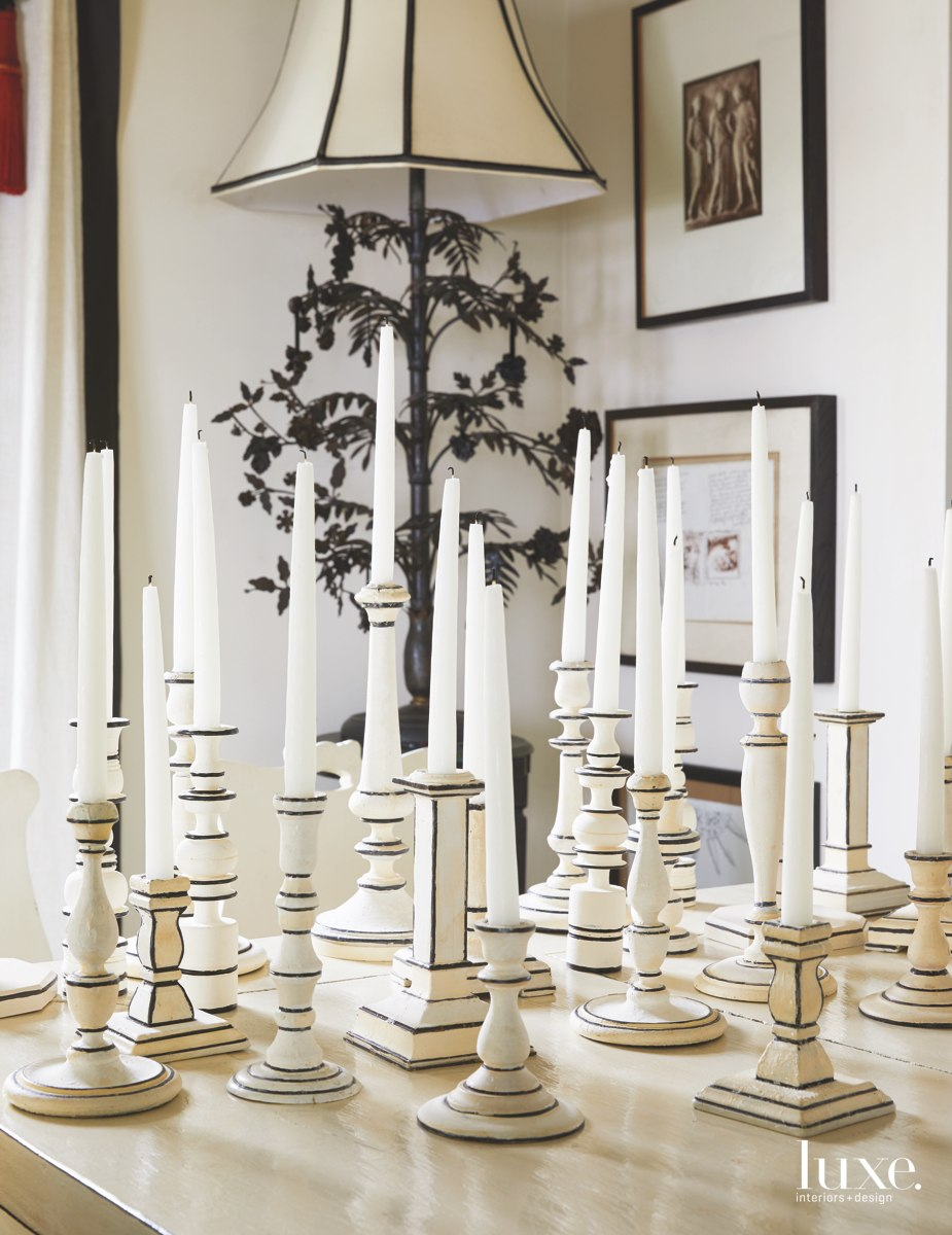 Ever the elegant hostess, McEvoy has acquired eclectic entertaining pieces over the years, such as candlesticks from various estate sales and flea markets