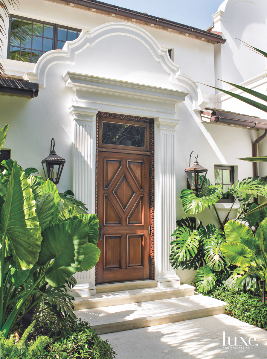 traditional exterior brown door white...