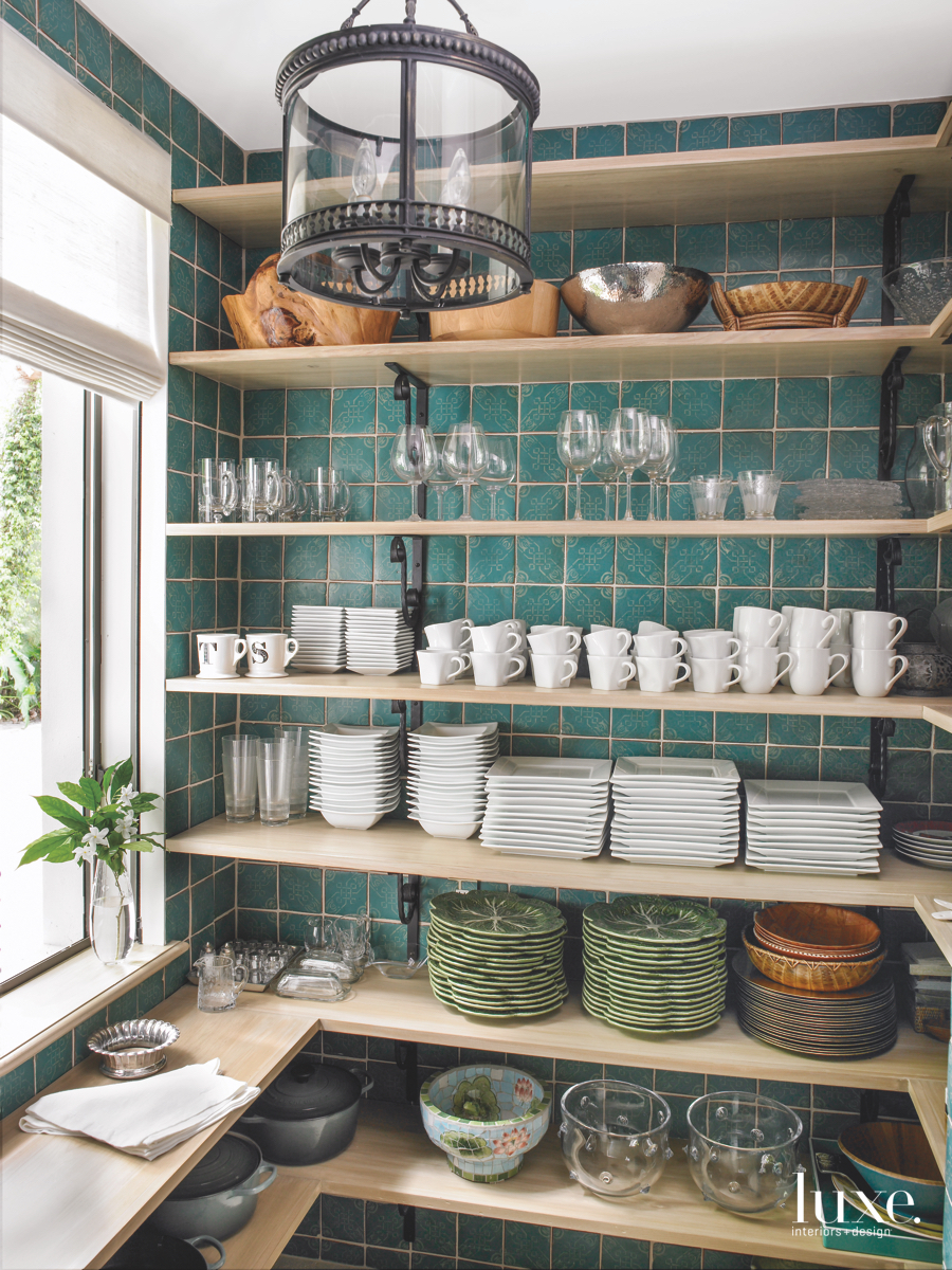 traditional kitchen shelves neutral plates