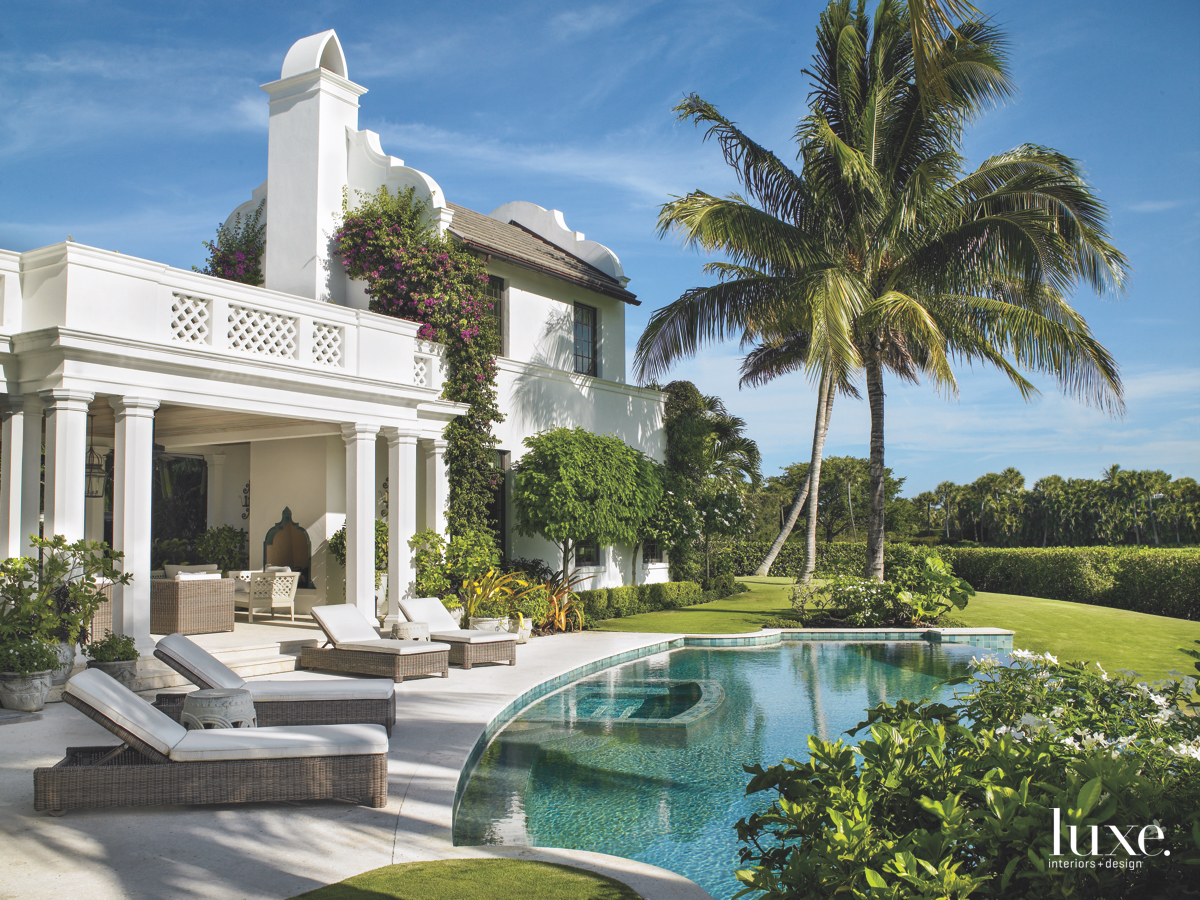 traditional outdoor pool white exterior