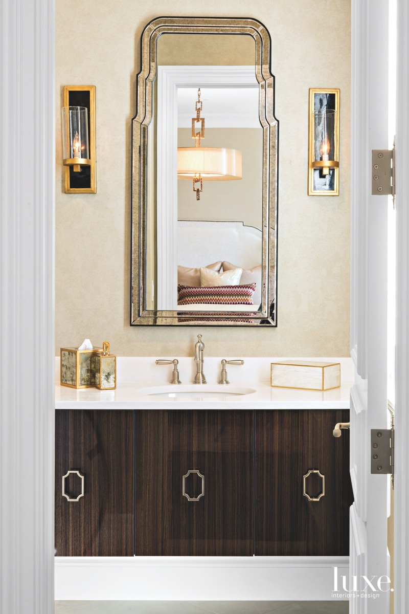 traditional neutral guest bathroom vanity...
