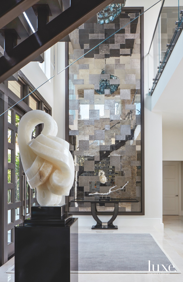 contemporary foyer marble sculpture