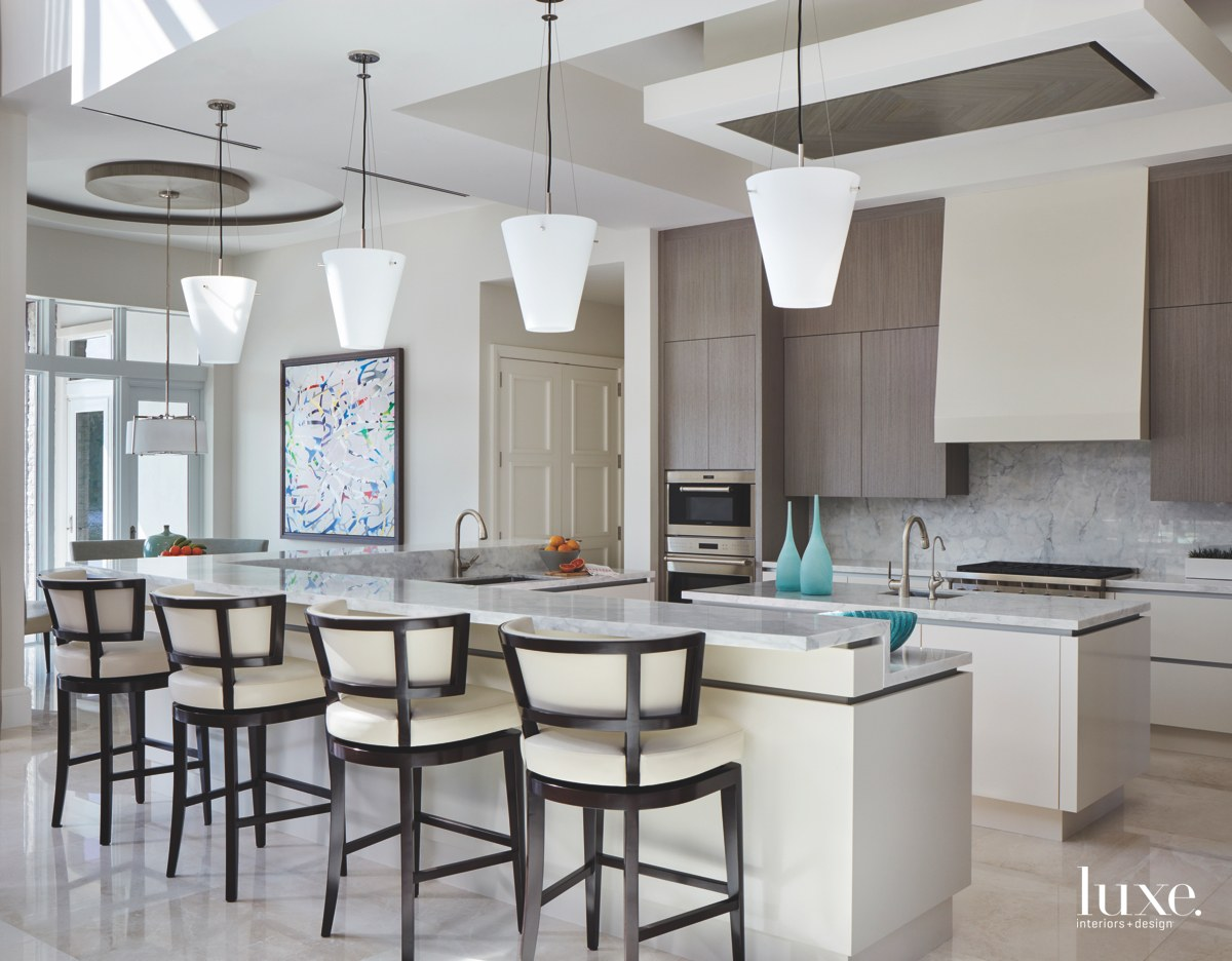 contemporary kitchen neutral barstools marble...