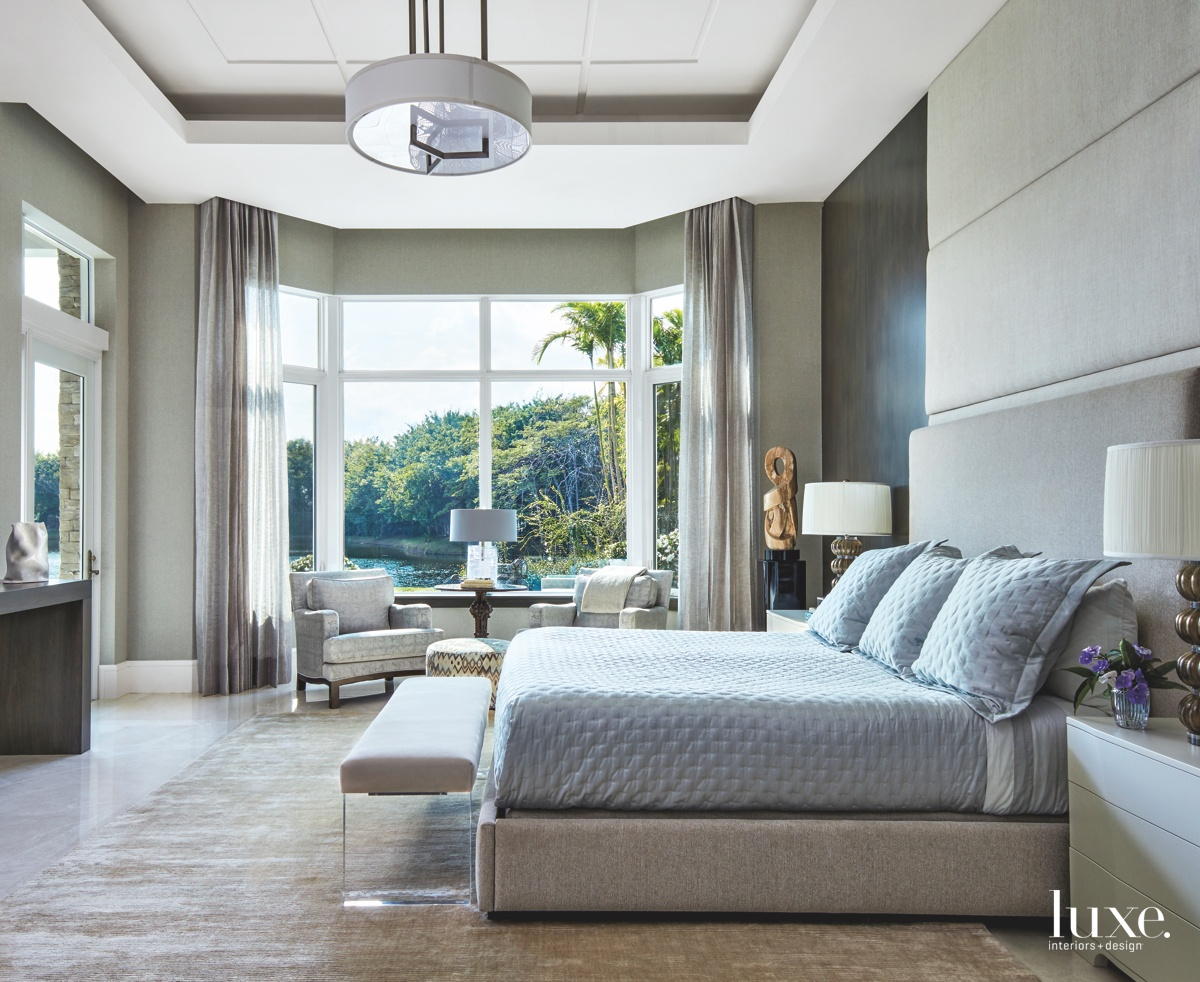 contemporary bedroom gray bed glass...