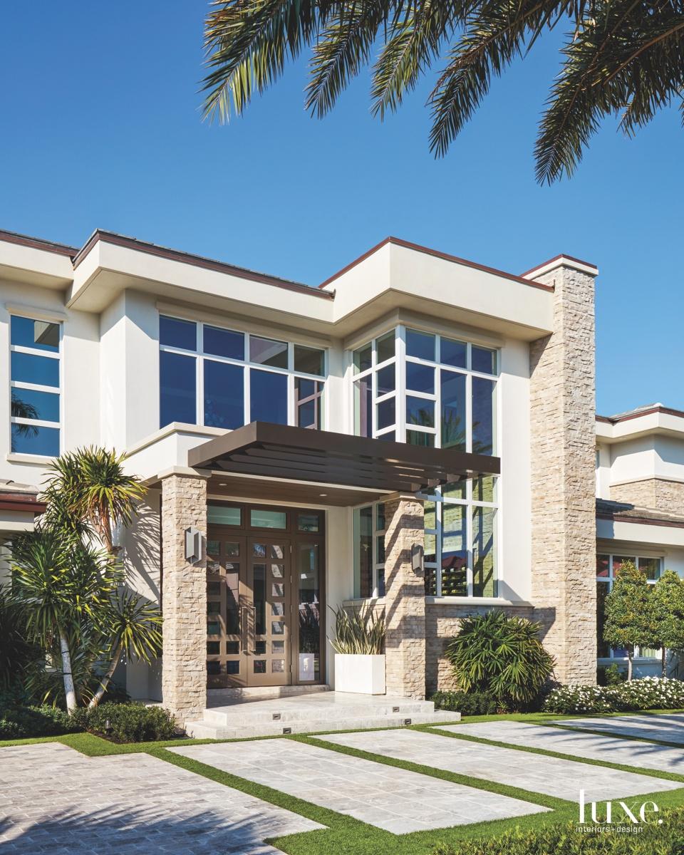 contemporary exterior entry neutral mahogany...