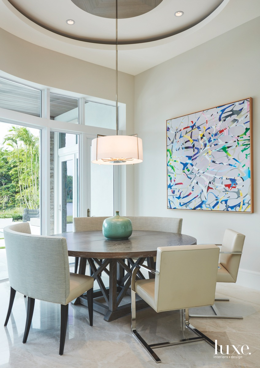 contemporary dining area neutral multi-colored...