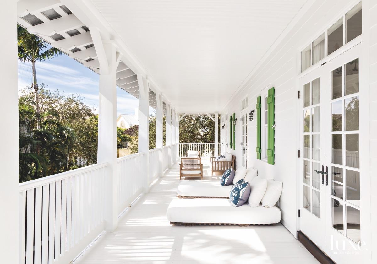 contemporary white terrace veranda sitting...