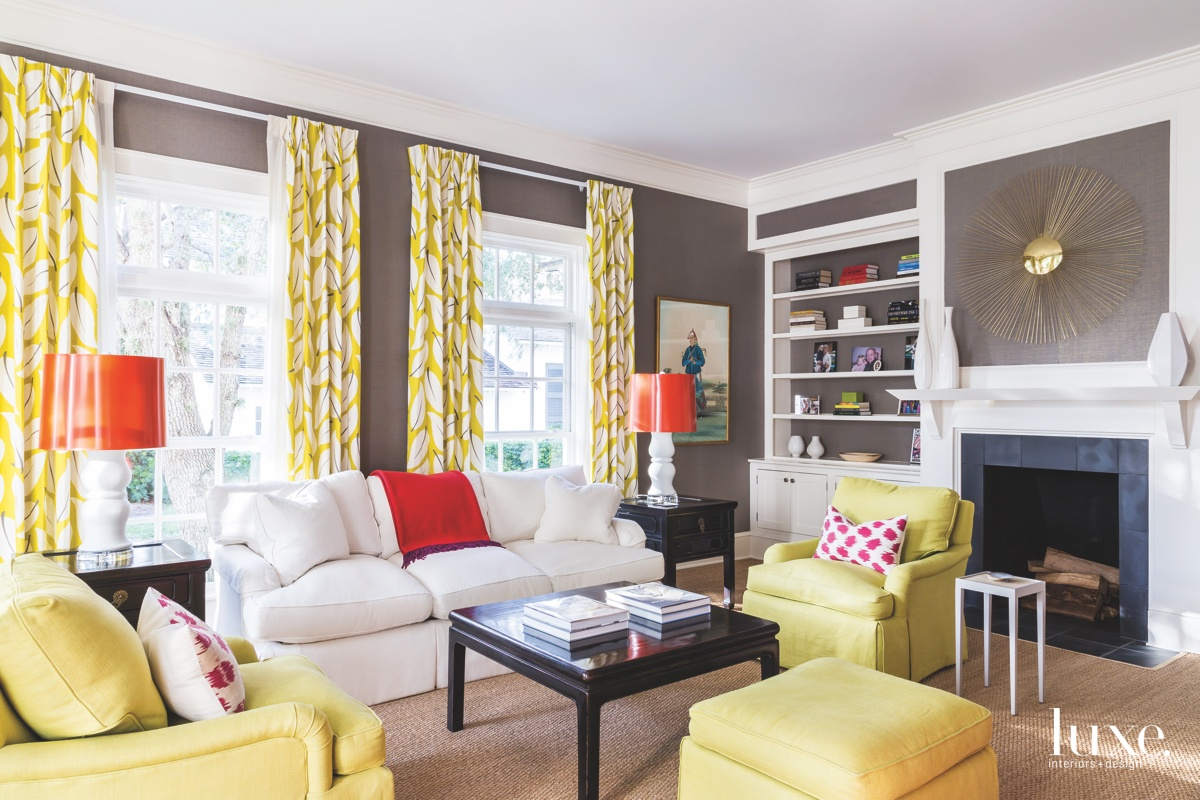 contemporary living room yellow accents...