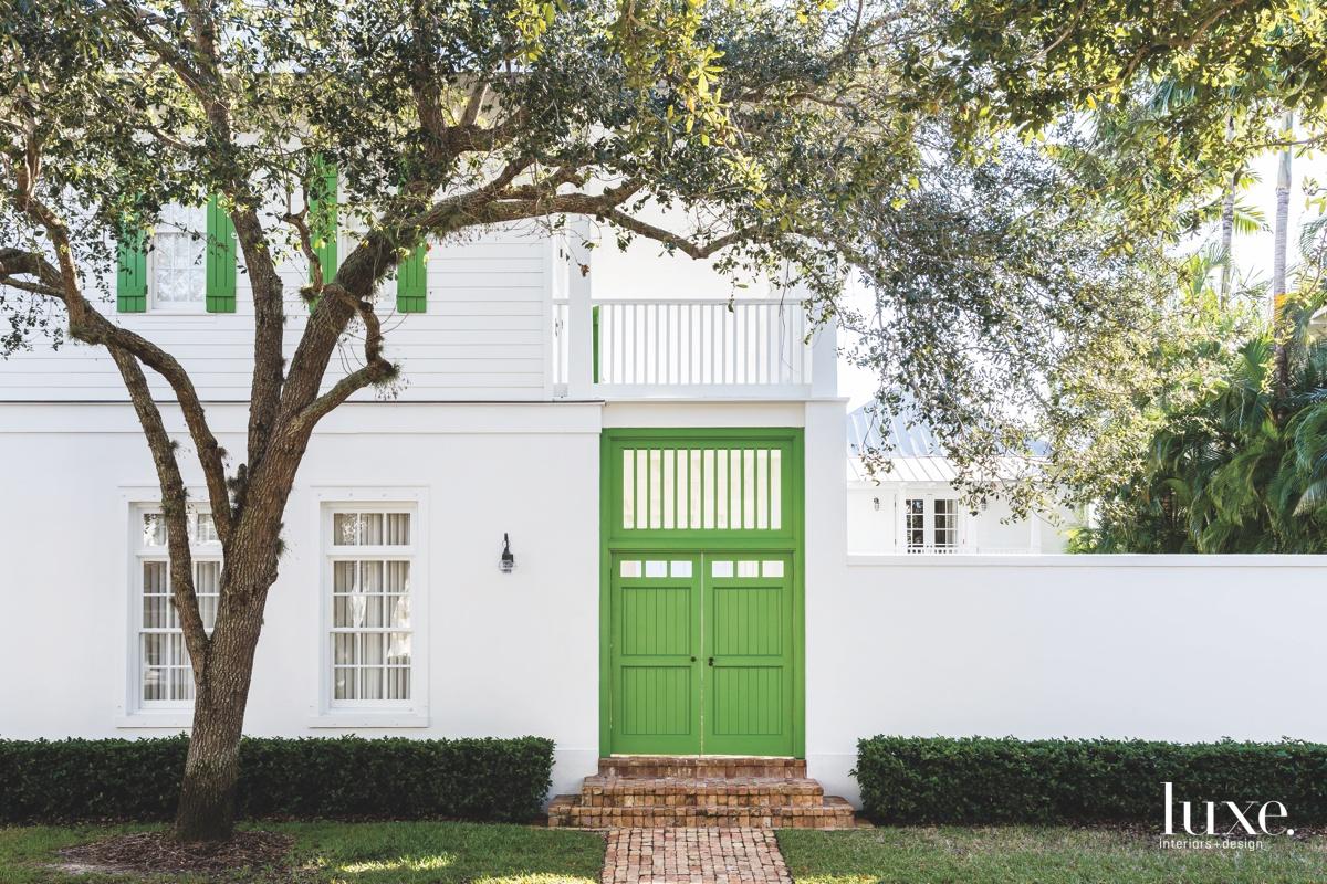 contemporary exterior green entry door