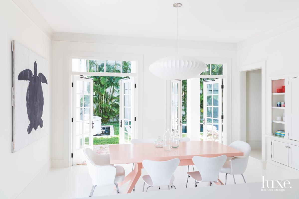 contemporary white dining room pink...