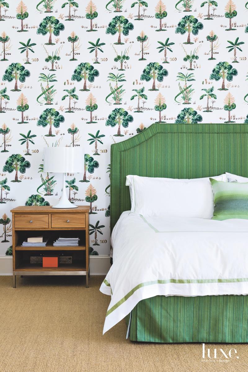 contemporary bedroom green tree wallpaper