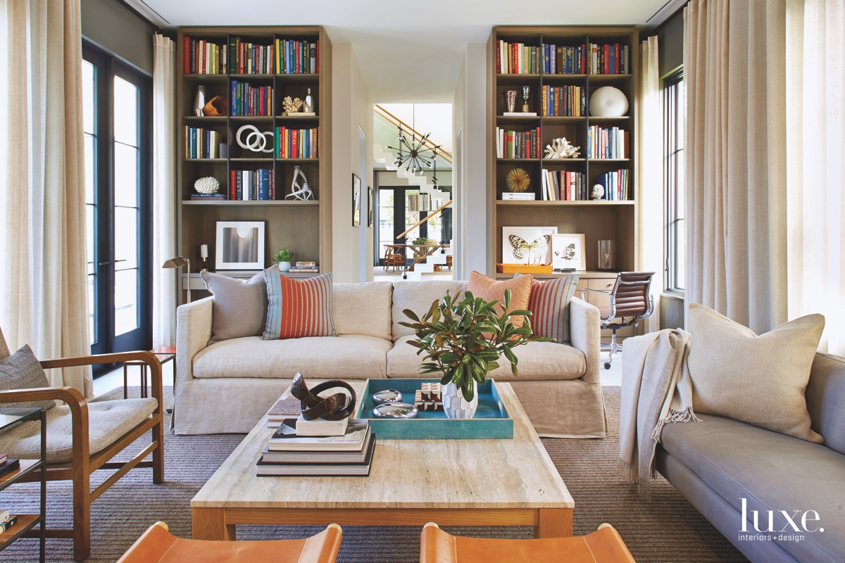 mid-century modern living room library...