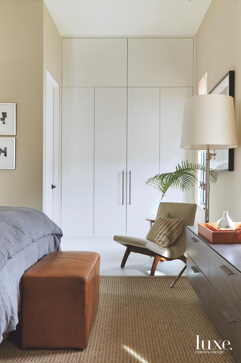 mid-century modern bedroom neutral white...