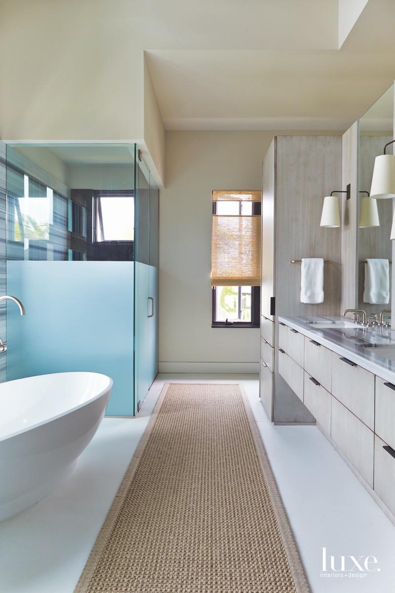 mid-century modern neutral bathroom floating...