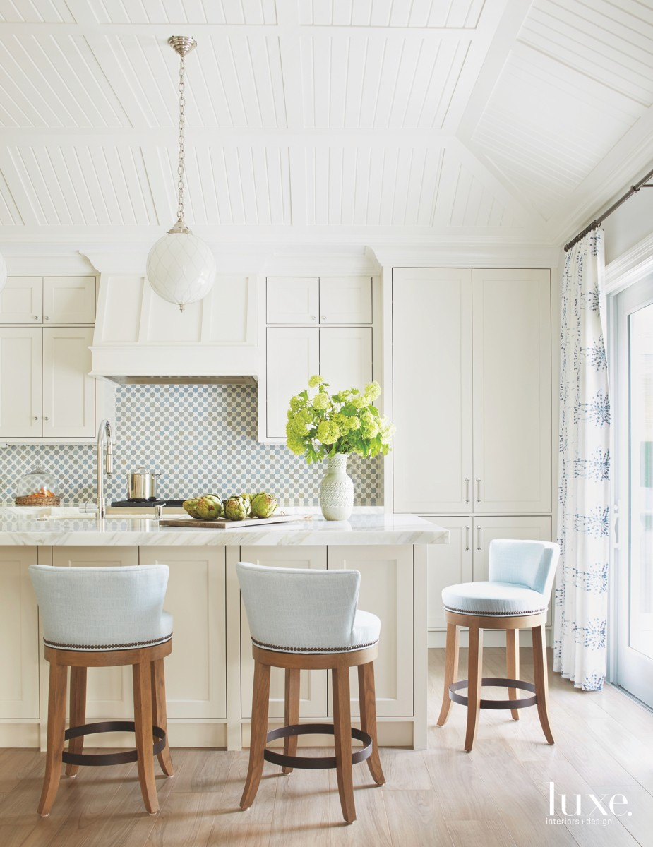 traditional white kitchen blue accents...