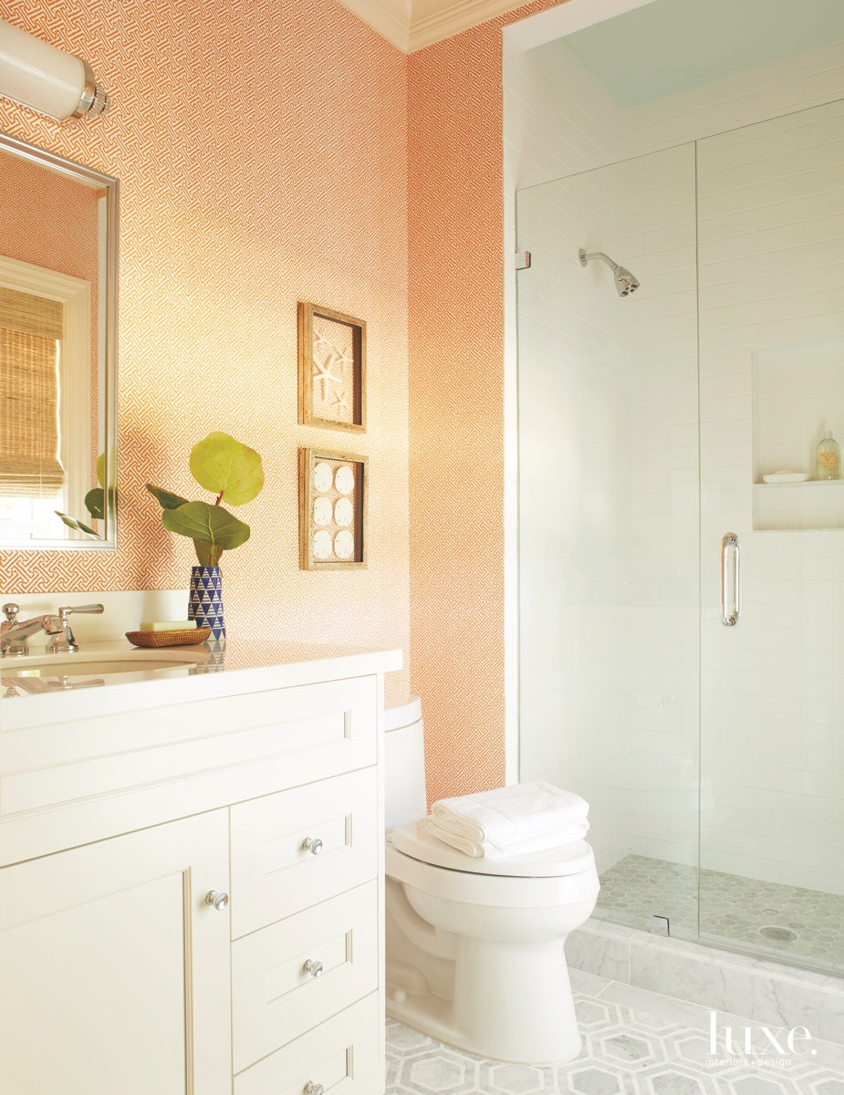 traditional bathroom orange wall