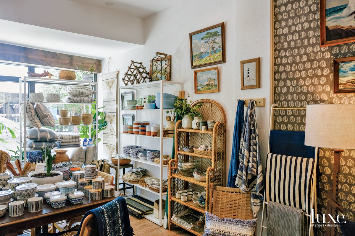 Inside Row House, Paige and Tyler Jackson's store in the Northwood Village community of West Palm Beach, patrons can shop a wide variety of inspired vintage finds and curated home objects.