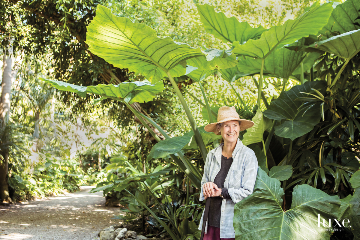 The artist in the gardens on the grounds of her Palm Beach home, nicknamed Casa Phippsberger--a mash-up of her family name and her husband's, preservationist Robert Eigelberger.