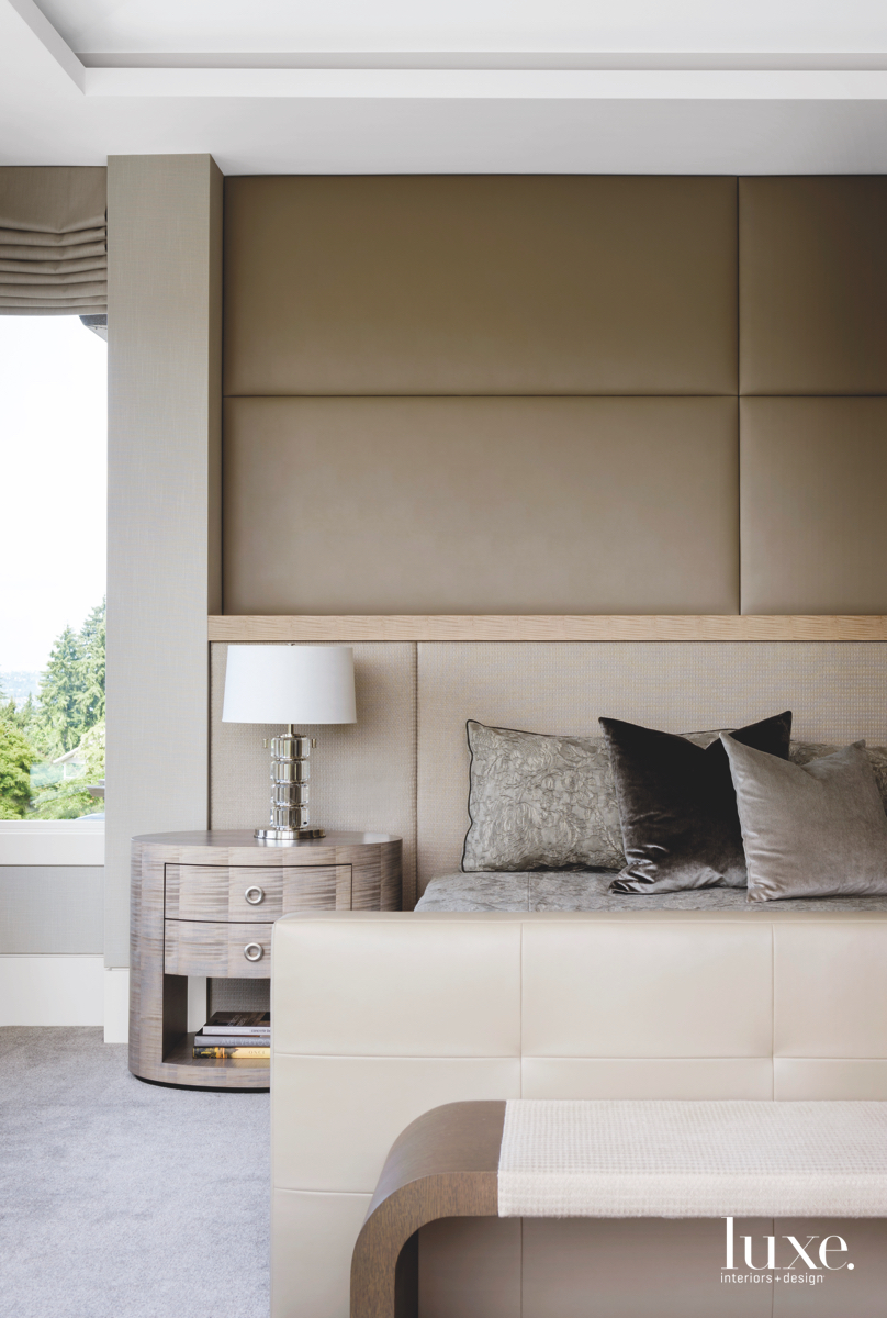 modern neutral bedroom bed
